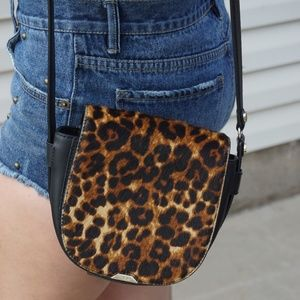 Maje Ponyhair Leopard Print and Leather Cross body